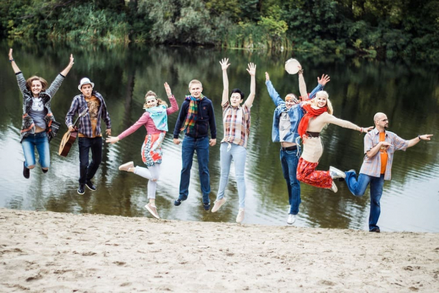 Jumping hippie people