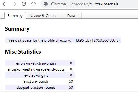 15 лайфхаков Google Chrome. Получение информации о дисковом пространстве, которое используется браузером