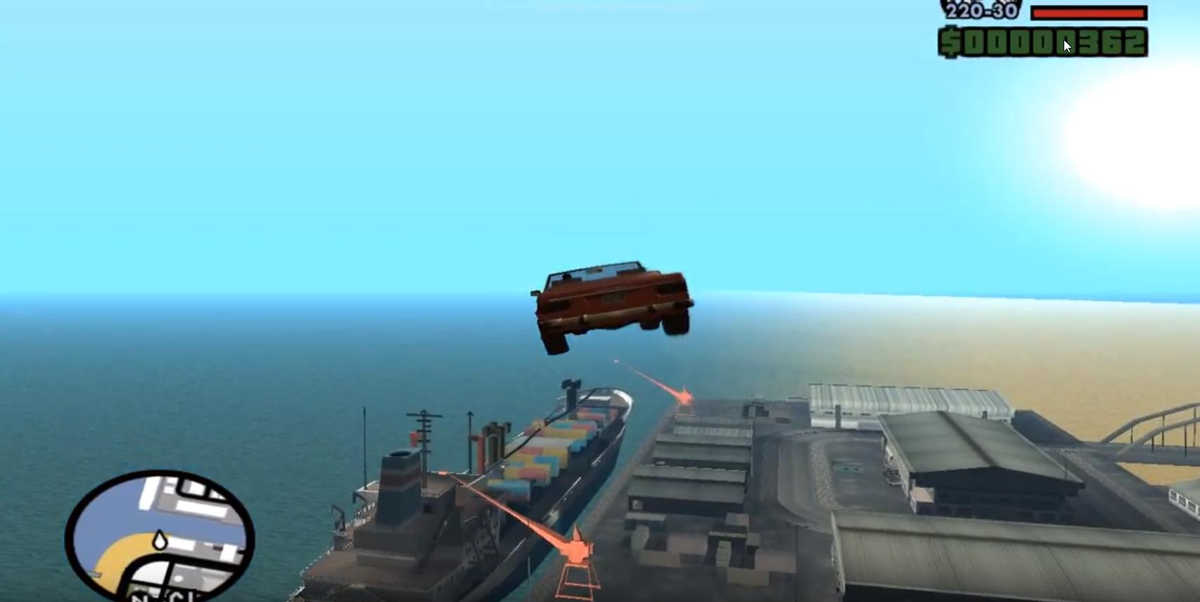 результат применения чит-кода летающих машин в GTA San Andreas