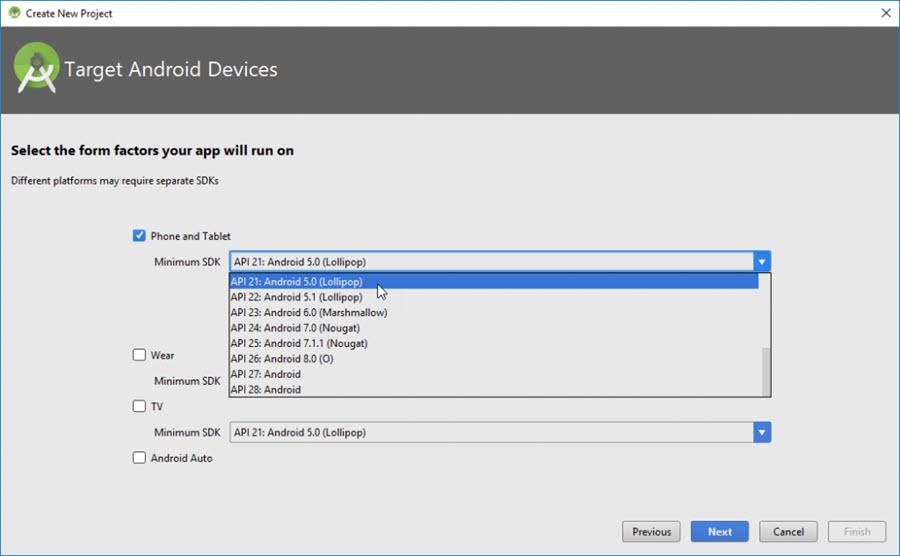 Создать новый проект в Android Studio